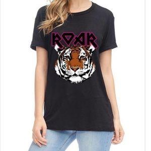 NEW Roar Graphic Tee in Black Short Sleeves